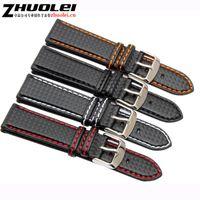 herren-uhrenhaken lederband großhandel-18mm 20mm 22mm 24mm Herrenuhrenarmband Carbon-Uhrenarmband mit roter Naht + Lederfutter Edelstahl-Verschlussarmband T190701