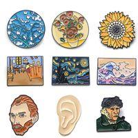 Wholesale painting enamel for sale - Group buy K339 Van Gogh Pins Oil Painting Art Metal Enamel Pin and Brooches Backpack Badge Brooch Gifts