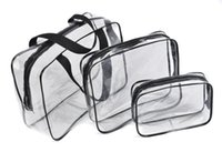 ingrosso dimensioni del pvc-3 pezzi Set Organizer Custodia trasparente cosmetica impermeabile Carry Pouch Wash toilette multistrato Sacchetto di trucco PVC con cerniera viaggio