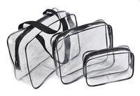 tamaños de carcasa de pvc al por mayor-3 Unidades Estuche Organizador Estuche Transparente Cosmético Impermeable Llevar Bolsa Lavar Artículos de tocador Tallas múltiples Bolsa de maquillaje PVC con cremallera Viajes