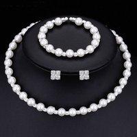 ingrosso collana di cristallo dei monili fatti a mano della perla-Orecchini di cristallo della collana della perla d'imitazione fatti a mano per la sposa Accessori di nozze placcati d'argento di modo dei monili nuziali di modo Commercio all'ingrosso