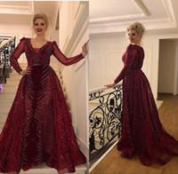 şarap resmi elbisesi toptan satış-Şarap Kırmızı Zarif akşam Formal Elbise 2019 Muhteşem Boncuklu Örgün Elbise Akşam Wear Uzun Kollu Artı boyutu Balo Abiye elbise de soiree abaya