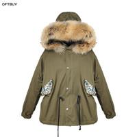 ingrosso giacca verde a forma di primavera di primavera-OFTBUY 2019 Primavera autunno giacca donna Paillettes che borda giacca verde militare reale collo di pelliccia di procione cappotto coreano moda parka