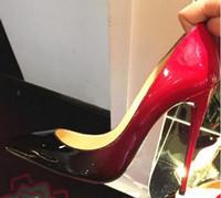 cuir rouge sexy achat en gros de-Haute qualité Femme Chaussures De Mariage De Talons hauts rouge sloe Noir / Rouge En Cuir Verni Femmes Pompes Pointu Toe Sexy Talons De Chaussures Talons aiguilles # 9020