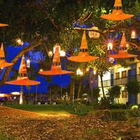 cadılar bayram dekorasyonları açık havada toptan satış-Lamba Cadı Hat Lambası Turuncu Cadılar Bayramı Dış Dekorasyon 6 Paketi Asma İyi Cadılar Bayramı Açık