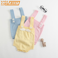 Wholesale pink angel baby clothes for sale - Group buy New Baby Rompers Soft Infant Clothing Cute Angel Wings Girls Boys Jumpsuits Baby Knitted Rompers Newborn Baby Boy Clothes Y19050602