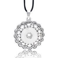 ingrosso bottoni di fiore a scatto in metallo-Moda fiore di cristallo zenzero intercambiabile in metallo collana 041 Fit 12mm 18 millimetri con bottone a pressione ciondolo collana gioielli fascino per le donne regalo