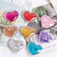 Wholesale package air bags resale online - 10pcs Universal Air Bag Grip Cell phone Holder Expandable D Quicksand Glitter Heart Shaped Glitter Grip Phone Holder with Retail Package