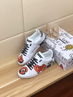 Wholesale personalized sports for sale - Group buy 2019 summer new high end brand leather men s shoes personalized printing low cut casual flat shoes fashion wild sports shoes size