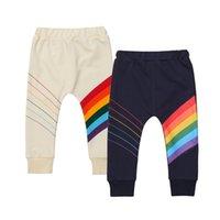 erkekler jogger pantolon toptan satış-Moda Gökkuşağı Yürüyor Çocuk Erkek Bebek Kız Çizgili Tayt Rahat Pantolon Joggers