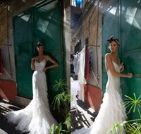 Wholesale inbal dror bridal dresses gowns mermaid for sale - Group buy Inbal Dror Mermaid Lace Wedding Dresses Sexy Spaghetti Neck Beaded Backless Bridal Gowns Beach Garden Bride Dress