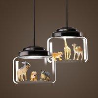 animaux de verre modernes achat en gros de-JESS Moderne Loft Pendentif Lumières Style De Fer Verre Droplight Moderne LED Luminaires Salle À Manger Modèles Animaux Suspension Lampe Éclairage Intérieur