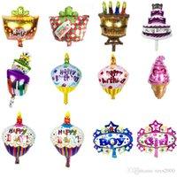 desenhos animados de fundo venda por atacado-bolo de aniversário dos desenhos animados balão de alumínio festa de aniversário balões brinquedo parede mini-cute decoração fundo sustentar A221 atacado