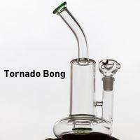 tornado ciclón agua bong al por mayor-2018 Claro Verde azul Vidrio Tornado Bongs Base Ciclón Percolador Bong Tubos de agua de aceite Aceite Aparejos con 18 mm Cuenco masculino cuarzo banger