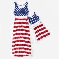 ingrosso vestiti 4 luglio-Mother Kids Star Print Dress Abito senza maniche American Flag Independence Giornata nazionale USA 4th July Stripe Family Matching Outfit S-3XL