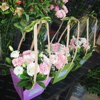 ingrosso tazza di carta di fiori-10 pz Kraft Sacchetto Impermeabile Fiore Arrangment Confezionamento Borse Con Corda di Carta Personalizza Pacchetto Bonsai Pianta Vaso Carrier Q190603