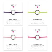 unendlichkeit für die herstellung von schmuck großhandel-Liebe Tanz Armbänder mit Geschenkkarte Mädchen runden Charme unendlich machen einen Wunsch Armreif für Frauen Modeschmuck Zubehör