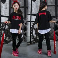 cooles mädchen scherzt t-shirt großhandel-Kinder Cool Hip Hop T-Shirt Kleidung für Mädchen Jungen Sweatshirt Tops Jogger Hosen Jazz Dance Kostüme Ballsaal Bühnentanz Outfit