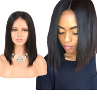 doğal kısa düz dantel perukları toptan satış-Kısa Bob Peruk Brezilyalı Düz Dantel Ön İnsan Saç Peruk Siyah Kadınlar Için Bebek Saç ile Ön Koparıp Doğal Siyah