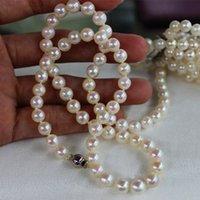 colliers perles chine achat en gros de-Bijoux FINE perles naturelles collier China Southern 8-9mm classiques fermoir en argent 925 100 pouces