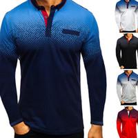 jungen beiläufige hemden tragen großhandel-Mens Designer T-Shirt Explosion Modelle 3D Printing Langarm-T-Shirt-Polo-Hemd-Revers-Hemd Mode Kleidung Junge Casual Wear Größe M-3XL