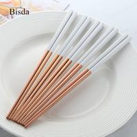ingrosso set da cucina cinese-5 paia di bacchette in acciaio inossidabile Titanize cinese in oro Chopsitcks in metallo nero Chop Sticks Set utilizzato per sushi dinnerware Q190606