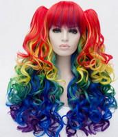 ingrosso parrucca colorata di moda-WIG LL 001070 Fashion Fluffy Full Bang Colorato Charming lungo ondulato resistente al calore parrucca sintetica con grappoli donne