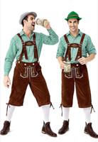 jarretelles à vendre achat en gros de-Costumes Designer 2019 New German traditionnel Oktoberfest Vêtements Plaid Shirt Suspenders bière Combinaison Homme luxe Vêtements Vente chaude
