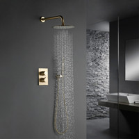 Wholesale gold faucet luxury resale online - Solid Brass Brushed Gold Bath Bathroom Shower Head Rianfall Luxury Combo Faucet Wall Mount Arm thermostatic Mixer Diverter Set