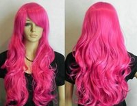 ingrosso parrucca rosso rosa scuro-WBY g Wholesale New Dark Pink / Rose rosse lunghe ondulate Cosplay donne parrucca