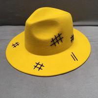 Wholesale black lace hat for sale - Group buy New Fashion Yellow Wool Felt Hat Wide Brim Casual Black Lace Up Autumn Winter Sun Hat Men Women Felt Porkpie Jazz Fedora Hat T200118