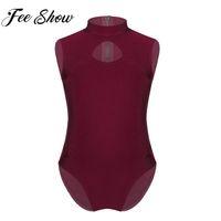 bale takımları toptan satış-Feeshow 2019 Yaz Kızlar Giysi Set Jimnastik Leotard Tulum Kolsuz Keyhole Ön Arka Bale Dans Elbise Takım Elbise