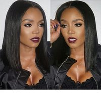 Wholesale thick bangs resale online - Lace Front Human Hair Wigs With Thick Bangs Peruvian Non Remy Hair Pre Plucked Bob Wig Natural Black Lace Wig