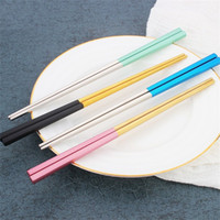Wholesale gold plated chopsticks for sale - Group buy 304 Stainless Steel Chopsticks Square Gold Color Plated Chopstick Mirror Light Anti Scalding Slip Tableware New Arrival dm L1