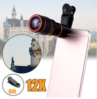 telefones de lente 12x venda por atacado-HD 12x lente do telescópio com zoom óptico câmera com clip para iphone / telefone universal lens dslr produto universal do telefone móvel