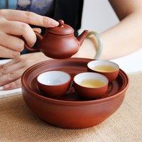 teteras yixing al por mayor-5PCS viajan juego de té del puer té oolong y negro olla LTEA ventas calientes yixing tetera de arcilla hechos a mano tetera hermoso y fácil