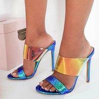 renkli sandaletler toptan satış-Yeni renkli mavi gümüş sandalet yüksek topuklu terlik moda lüks tasarımcı kadın ayakkabı boyutu 35