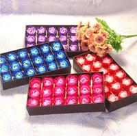 Wholesale boxed soap sets for sale - Group buy 18pcs set Romantic Rose Soap Flower Heads Artificial Flowers Bathing Petals Box For Valentine s Day Gifts Decorative Flowers CCA11020 set