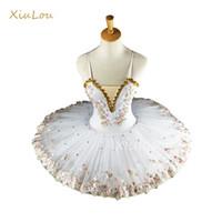 beyaz çocuk dans elbisesi toptan satış-Beyaz Çocuk Çocuklar Çocuklar Yetişkinler Için Profesyonel Balerin Gözleme Tutu Dans Kostümleri Bale Elbise Kız Q190604