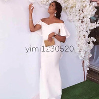 Wholesale black bal gown resale online - New Elegant Mermaid Prom Dresses Off Shoulder Ruffle Sleeve Satin Long Formal Evening Party Gowns Simple robes de bal robe de soiree