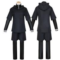 traje cosplay de anime preto venda por atacado-Anime Tokyo Ghoul Trajes Cosplay Kaneki Ken Trajes Cosplay Com Capuz Casacos Luta Preta Uniforme Conjunto Completo Com Máscara
