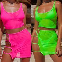 jupes vertes achat en gros de-Bkld Neon Green Rose Chaud Transparent Mesh Deux Pièces Ensembles Casual Plage Tenues Femmes Sexy Creux Out Moulante Mini Jupe + crop Tops C19041701