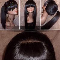 afrikalı amerikalı peruk patencileri toptan satış-Afrikalı Amerikalı için Isı Direnci Siyah Brown peruk Uzun Düz Doğal Saç Peruk ile Bangs Kadınlara özel simülasyon Brezilyalı insan saçı