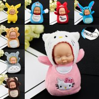 Wholesale handbag keychain fashion for sale - Group buy Fashion Sleeping Baby Doll Keychain Pompom Key chain Car key ring Handbag Charm Wallet Purse Holder Xmas Gift For Kids Car Keychains M39Y