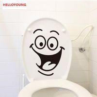 geschenkbox dekor groihandel-Cartoon Lächeln Toilette Aufkleber Tapete All-Match-Art-Kunst-Wandwasserdicht für Toilette Home Decor Kulisse Removable