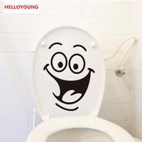 ingrosso disegno di carta di europa-Cartoon Smile Toilet Stickers Sfondi All-match Style Art Mural Impermeabile Per servizi igienici Home Decor Sfondo rimovibile
