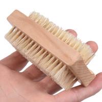 parmak tutamağı toptan satış-Doğal Domuzu Kıllar Tırnak Fırçası El Parmak Fırça Ahşap Saplı Kaldır Kirli Temizleme Fırçası Spa Masaj