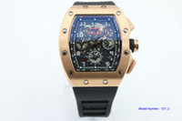 Wholesale hand bands sport resale online - hot sell Man watch Flyback rubber band black dial wacth k rose gold case mm Automatic machinery watch