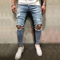koreanische designer-kleidung männer großhandel-Hochwertige Stretch Männer Knie zerrissene Jeans dünne städtische Kleidung Punk koreanischer blau schwarz Denim Designer beunruhigt Jogger Hosen