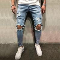 ingrosso pantaloni jeans coreani per gli uomini-L'alta qualità di stirata uomini ginocchio strappato Skinny jeans abbigliamento urbano Coreano punk nero blu jeans firmati afflitto Pantaloni Pantaloni